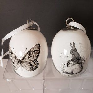 Other - 6 Hanging White Eggs With Butterfly Bird Rabbits